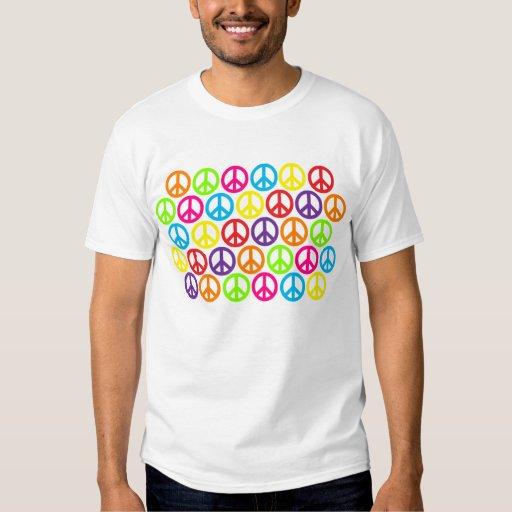 Signos de la paz multicolores múltiples playeras
