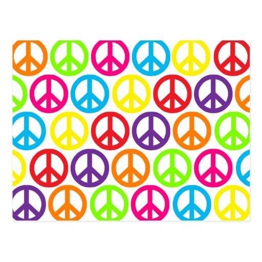 Signos de la paz multicolores múltiples tarjeta postal