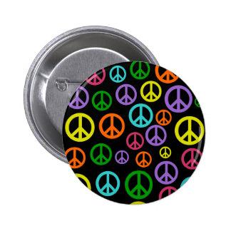 Signos de la paz multicolores pin redondo de 2 pulgadas