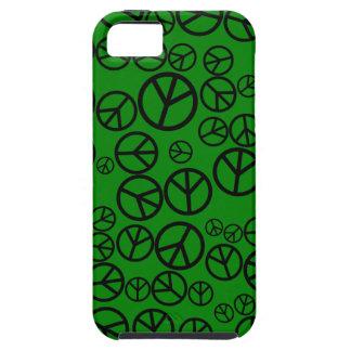 Signos de la paz negros retros en verde iPhone 5 fundas