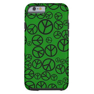 Signos de la paz negros retros en verde funda de iPhone 6 tough
