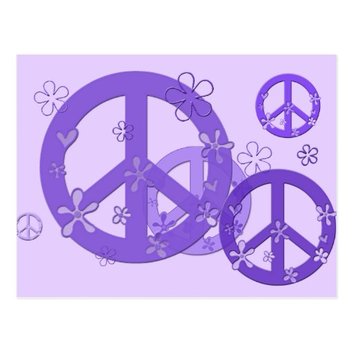 Signos de la paz púrpuras en tarjetas y pegatinas tarjetas postales
