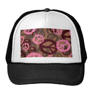 Signos de la paz rosados de la mirada del camo gorros bordados