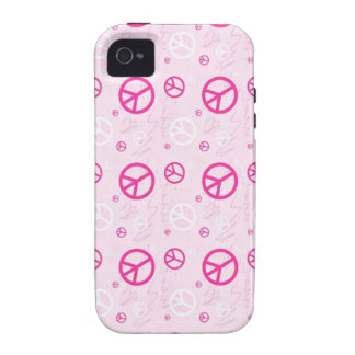 Signos de la paz rosados femeninos iPhone 4/4S carcasa