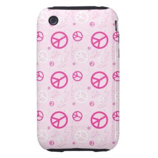 Signos de la paz rosados femeninos tough iPhone 3 carcasas