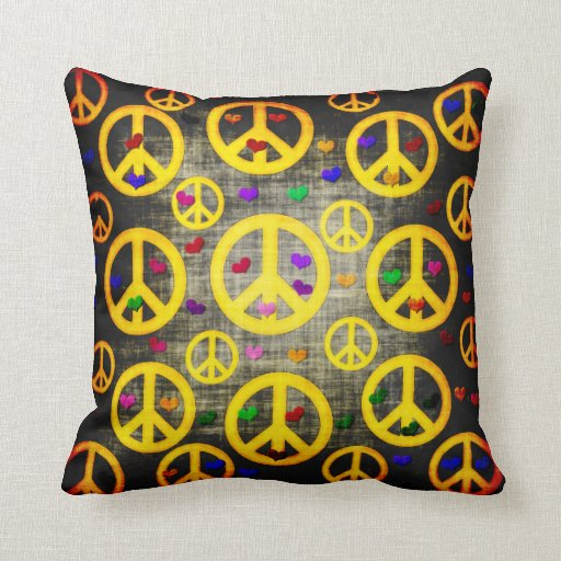 Signos de la paz y corazones cojin