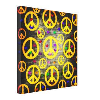 Signos de la paz y corazones impresiones en lona estiradas