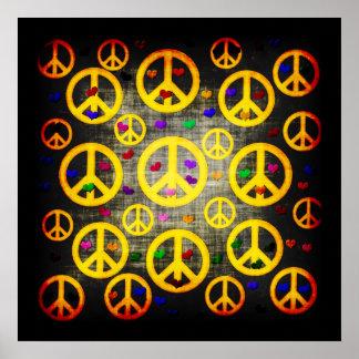 Signos de la paz y corazones impresiones