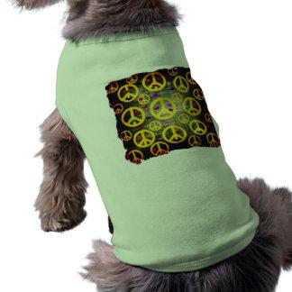 Signos de la paz y corazones playera sin mangas para perro