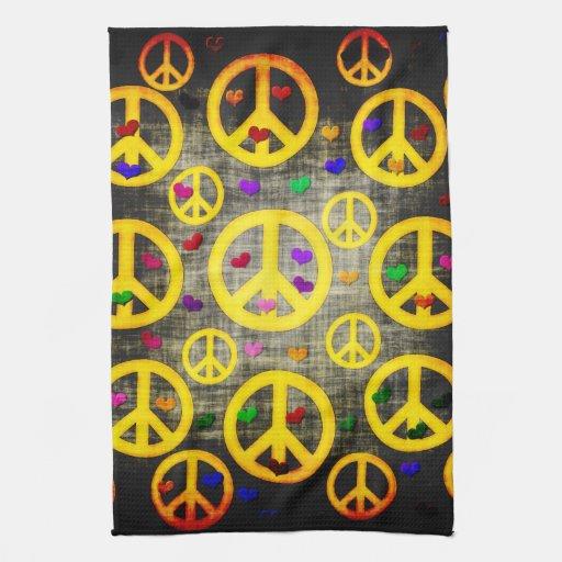 Signos de la paz y corazones toallas de cocina