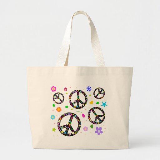 Signos de la paz y flores bolsa de mano