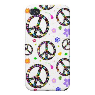 Signos de la paz y flores iPhone 4 carcasa