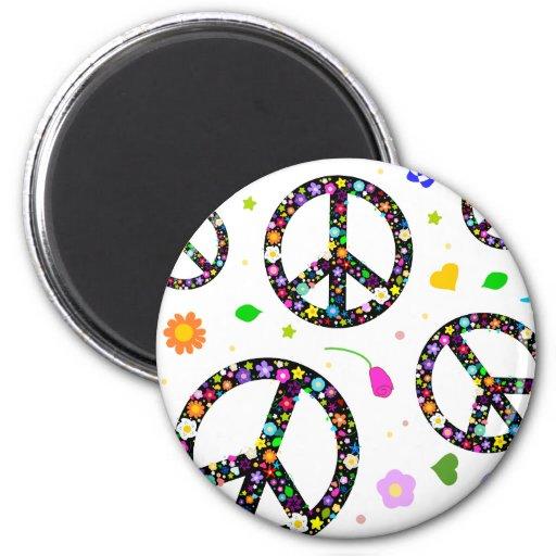 Signos de la paz y flores imán redondo 5 cm