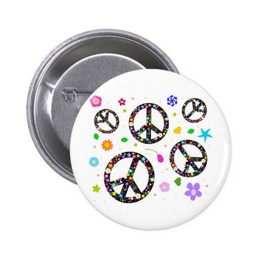 Signos de la paz y flores pin