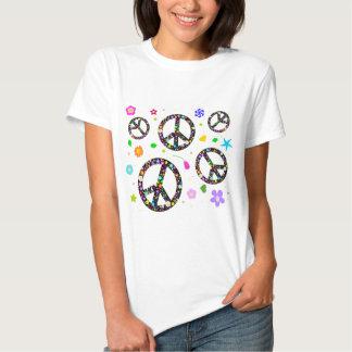 Signos de la paz y flores playera