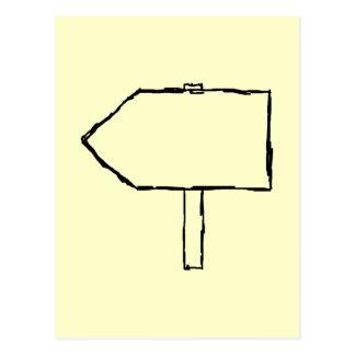 Signpost Arrow. Black and Cream. Postcard