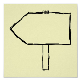 Signpost Arrow. Black and Cream. Posters