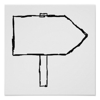 Signpost Arrow. Black and White. Print