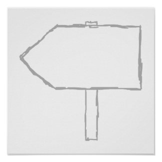 Signpost Arrow. Gray and White. Print