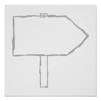 Signpost Arrow. Gray and White. Posters