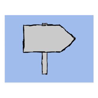 Signpost Arrow. Gray, Black and Blue. Postcard