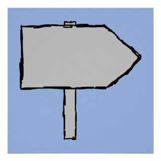 Signpost Arrow. Gray, Black and Blue. Posters