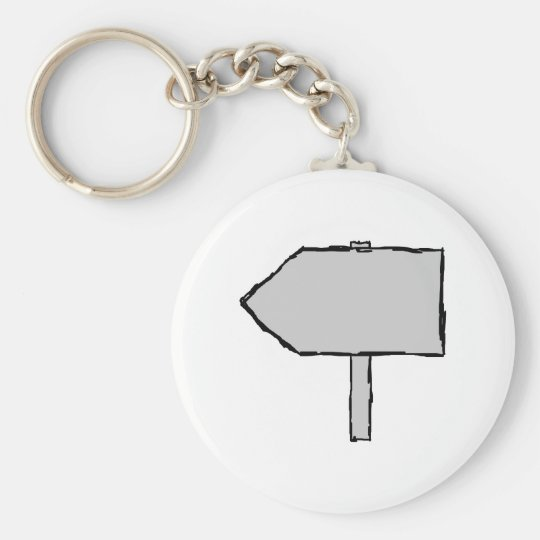 Signpost Arrow. Gray, Black and White. Keychain