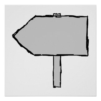 Signpost Arrow. Gray, Black and White. Posters
