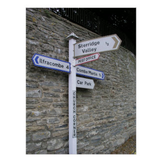 Signpost at Berrynarbor, North Devon, UK Poster