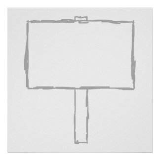 Signpost Notice. Gray and white. Print