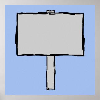 Signpost Notice Illustration. Blue. Print