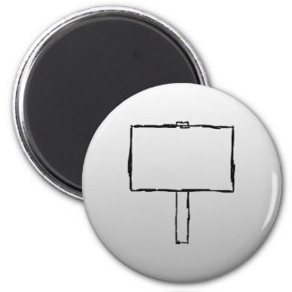 Signpost Notice Image. Black on gray. 2 Inch Round Magnet