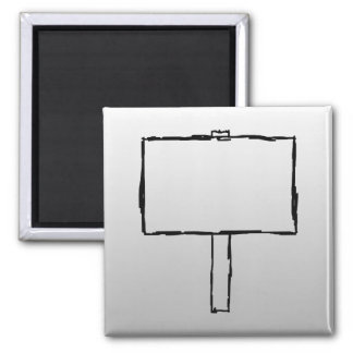 Signpost Notice Image. Black on gray. 2 Inch Square Magnet