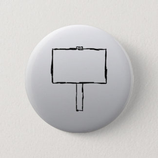 Signpost Notice Image. Black on gray. Pinback Button