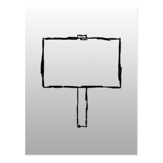 Signpost Notice Image. Black on gray. Postcard