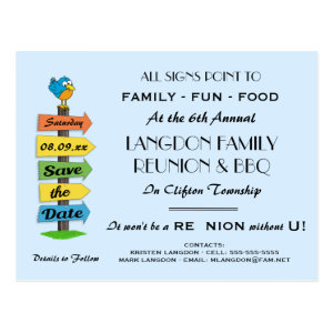 Signpost Save the Date Reunion, Party or Event Postcard