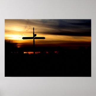 signpost sunset poster