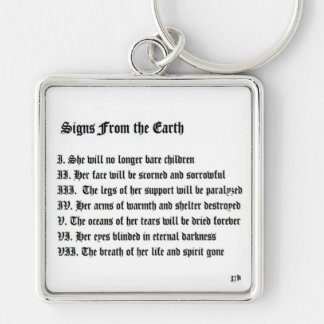 Signs From The Earth Silver-Colored Square Keychain
