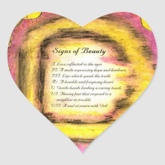Signs of Beauty Heart Stickers
