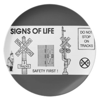 Signs Of Life at Railroad Crossings Plate