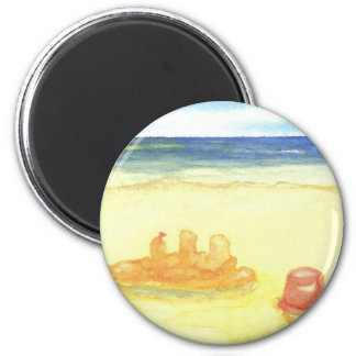 Signs of Life - Sandcastles & Buckets on the Beach Refrigerator Magnet