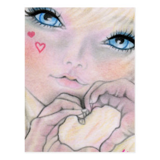 Signs of Love doll face  Postcard