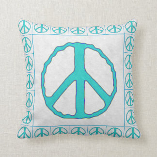 Signs of Peace ~ Cyan Throw Pillow