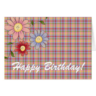 Signs Of Spring Floral Plaid Happy Birthday Card