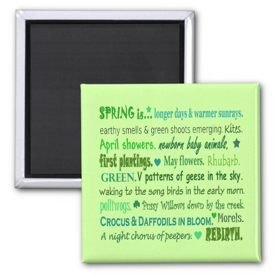 Signs of Spring. Word collage art magnet