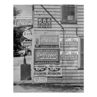 Signs on a General Store, 1938. Vintage Photo Poster