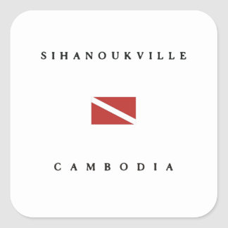 Sihanoukville Cambodia Scuba Dive Flag Square Sticker