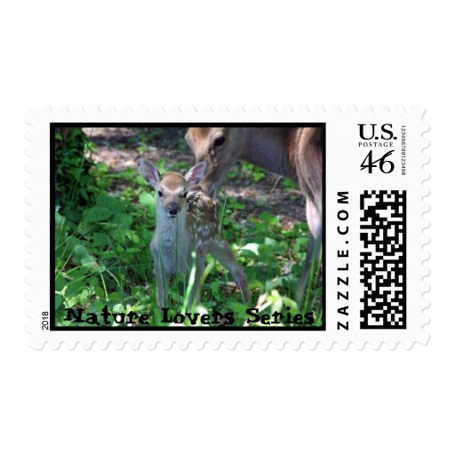 Sika fawn and mother deer stamps
