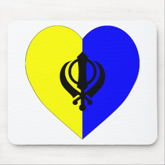 Sikh Flag Heart Mouse Pad