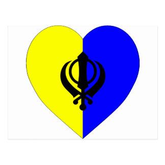 Sikh Flag Heart Postcard